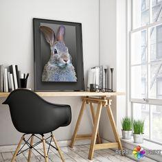 Nursery Animal, Rabbit Print Wall Art, Woodlands Nursery Decor, Baby Shower Gift, Printable Woodlands Bunny, Rabbit Photo, Digital Download