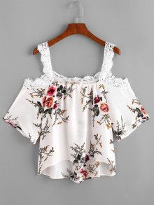 Cold Shoulder Women Blouses 2017 Sexy Print Cami Casual Summer Appliques Tops New Elegant Beach Draped Blouse Floral Blouse, Floral Tops, Printed Blouse, Printed Tees, Floral Lace, Girl Fashion, Womens Fashion, Style Fashion, Fashion Dresses