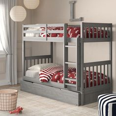 Birch Lane™ Heritage Williamson Twin Over Twin Bed with Drawers Bed Frame Colour: Charcoal Bunk Bed With Trundle, Full Bunk Beds, Bunk Beds With Stairs, Kids Bunk Beds, Unique Bunk Beds, Twin Bed With Drawers, Under Bed Drawers, Bunk Beds With Storage, Bed Storage