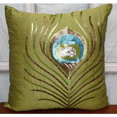 Green Peacock Feather - Throw Pillow Covers - 18x18 Inches Silk Pillow Cover with Sequin Embroidery $29.20