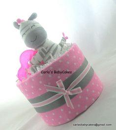 Mini diaper cake Girl diaper cake Baby by MsCarlasBabyCakes