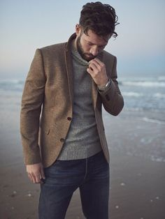 blazers for men casual menswear Blazer Jeans, Brown Blazer, Tan Blazer Mens, Mens Tan Jacket, Blazer Outfits Men, Jacket Jeans, Knit Blazer, How To Wear Blazers, Blazers For Men
