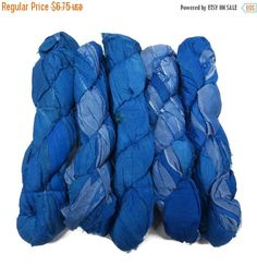 SALE 50g Recycled Sari Silk Ribbon, Irr. Blue