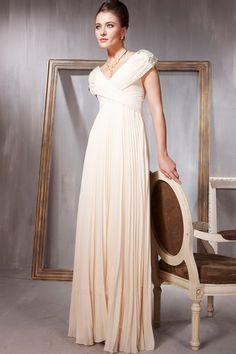 Classical Prom Dress V Neck Cap Sleeve A Line Floor Length Ruffled&Beaded USD 139.99 TPP5YAMR4K - TonyPromDresses.com
