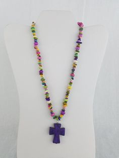 Fun cross necklace with colorful chip rock beads by KreationsbyFinch on Etsy
