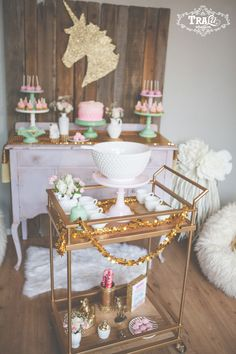 Magical Vintage Unicorn Party ~ Pink and Gold ~ with a DIY touch