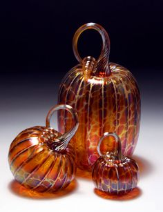 Jack Pine Studio Hand Blown Glass gold brown by jackpinestudios