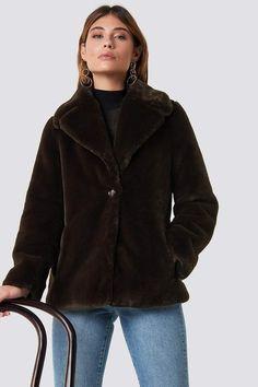 b36a3ede90b0 Xle The Label Jenna Faux Fur Coat Brown Faux Fur Coat