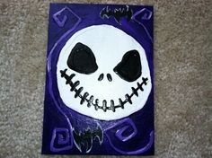 Jack Skellington - glue & acrylic, original painting. Buy on Etsy by clicking the picture or visit my website: http://happyteethlauren.wix.com/thecraftycat