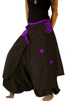 Harem Pants Skirt Aladdin Trousers Afghani Rave by manaKAmana Harem Pants Men, Cotton Harem Pants, Trousers, Women Pants, Comfortable Outfits, Stylish Outfits, Long Sleeve Vintage Dresses, Fashion Pants, Fashion Outfits