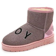 Casual Slip On Warm Cotton Lining Round Toe Bling Ankle Short Boots