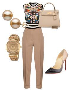 """""""Untitled #29"""" by sweetel on Polyvore featuring Bottega Veneta, Givenchy, Christian Louboutin, Hermès and Versace"""