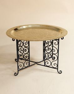 60cm Engraved Brass Table with Iron Base and Gold Tray