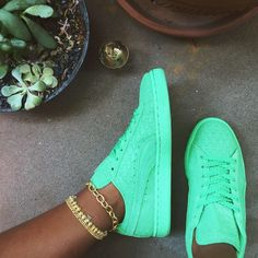 Green Suede Pumas;Aye