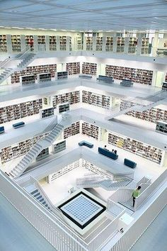 White Library, Stuttgart, Germany My two passions: architecture and literature. Amazing Architecture, Interior Architecture, Architecture People, Architecture Panel, Architecture Portfolio, Stuttgart Germany, Stuttgart Library, Beautiful Library, Book Nooks