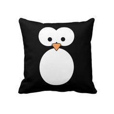 Penguin Eyes Throw Pillow