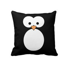 Penguin Eyes Throw Pillow