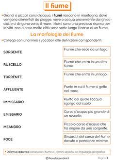 Il Fiume: Schede Didattiche per la Scuola Primaria | PianetaBambini.it Italian Language, Geography, Improve Yourself, Studio, Coding, Desiderata, Mandala, Alphabet, Environment