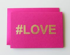 Gold Foiled 'hashtag' LOVE Blank Cards by TinaHuDesign on Etsy, $5.50 Valentines Art, Happy Valentines Day, Wedding Bible, Gold Wedding Theme, Paper Packaging, Diy Canvas Art, Creative Cards, Blank Cards, Hashtags