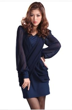 Elegant Crossover Front Long Chiffon Sleeve Patchwork Dress Blue on Buytrends.com, only price $13.75