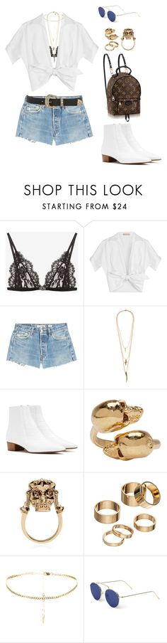 """COACHELLA"" by elipenaserrano ❤ liked on Polyvore featuring Alexander McQueen, Michael Kors, RE/DONE, Lacey Ryan, The Row, Apt. 9 and Illesteva"