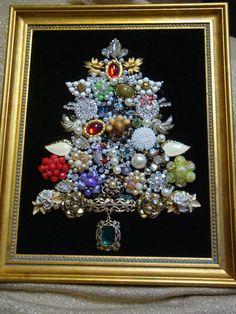 vintage costume jewlery for christmas tree | Framed Vintage Costume Jewelry Christmas Tree Lots of Beautiful ...