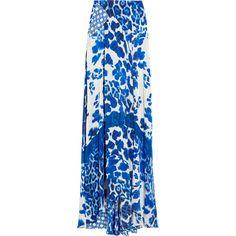 Just Cavalli Printed silk-satin maxi skirt ($475) ❤ liked on Polyvore