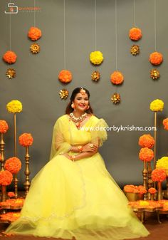 Simple Haldi decor by Kukatpally branch Dhanya for @bridesessentials #bebridaltrends Beautiful model @krutikasingh1421 Designer @thansi_official Couture @vibha_creations_collections jewellery @iramakeupstudios @sidhardhsai photography @pellipoolajada @decorbykrishna #NoFiber, #nofloralfoam, #nothermocoal #nooasis we use only natural materials for the most important events of your life Totally eco-friendly backdrops using all traditional and natural materials