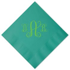 Custom Teal Cocktail Napkins with Key Lime (Matte) on ForYourParty.com