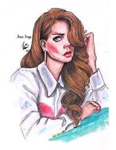 Lana Del Rey drawing watercolour artwork by Jesus Diego