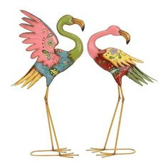 Like - definitely not your typical plastic lawn flamingos! But out of my price range! Set of two metal flamingos with a floral motif. Product: Small and large flamingo statueConstruction Material: . Flamingo Garden, Flamingo Art, Pink Flamingos, Yard Flamingos, Flamingo Gifts, Flamingo Drawings, Outdoor Sculpture, Pastel Floral, Garden Statues