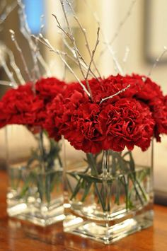 & Red: Buon Natale Party Even tho these are carnations, it looks really pretty! The bark brings it all togetherEven tho these are carnations, it looks really pretty! The bark brings it all together Carnation Centerpieces, Carnation Bouquet, Red Carnation, Carnations, Wedding Centerpieces, Wedding Decorations, White Centerpiece, Shower Centerpieces, 40th Wedding Anniversary