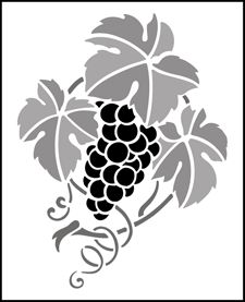 Fruit and Flower Grapes  stencils, stensils and stencles