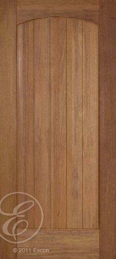 Exterior Rustic Teak 1 Panel Arch Top Door Beaded/ Grooved panel  [M651]