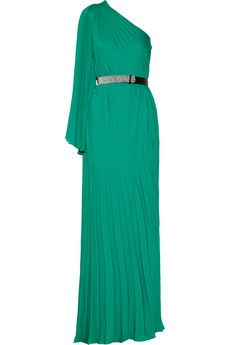 Halston Heritage Pleated crepe de chine gown | THE OUTNET