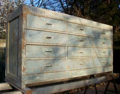 Vintage Painted Wood Distressed Cabinet Makers Cabinet / Tool Cabinet / Buffet / Baby Blue / Rustic Cottage / Farm
