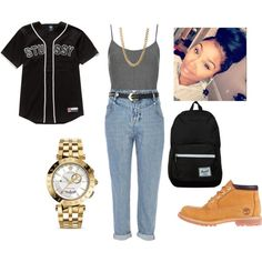 stussy baseball jersey with mom jeans outfit by yvon-tani-jackson on Polyvore