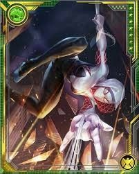 Battling the Inheritors with the rest of the Spider-Army, Gwen becomes known as Spider-Gwen to distinguish her from the other Spider-Woman. She later appears in the Battleworld domain known as Arachnia. Marvel Spider Gwen, Silk Marvel, Marvel Cards, Green Goblin, Fantasy Comics, Marvel Women, Hero Arts, Disney Art, Comic Art