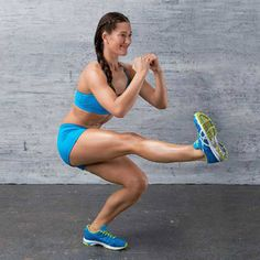 Pistol squat -- targets gluts, and butt. Do 15x reps per leg, increase at your own pace. This works wonders!!!!