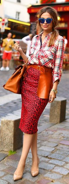 Mix Prints Chic Outfit                                                                              Fuente