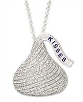 Hershey's Kiss Jewelry - Sterling Silver CZ Extra Large Flat Back Shaped Hershey's Kiss Pendant