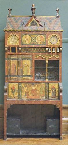 Pre-Raphaelite Writing Desk Created by: William Burges (Designer), Gualbert Saunders (Maker) Created: 1865 - 1867 | Manchester Art Gallery