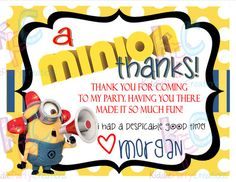 Minion Birthday Party Thank You Digital by KiddiePartyCreations