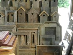 Love these birdhouses and frames by Bungalow Retreat.