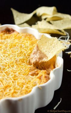 Finger Food Appetizers, Appetizer Dips, Appetizer Recipes, Taco Bar, Cream Cheese Bean Dip, Refried Bean Dip, Refried Beans, Bean Dip Recipes, Mexican Food Recipes