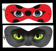 Free Printable Miraculous Ladybug and Cat Noir Masks. - Free Printable Miraculous Ladybug and Cat Noir Masks. Ladybug And Cat Noir, Meraculous Ladybug, Cat Birthday, Frozen Birthday, Printable Masks, Free Printables, Cat Noir Costume, Miraculous Ladybug Costume, Aniversario Peppa Pig