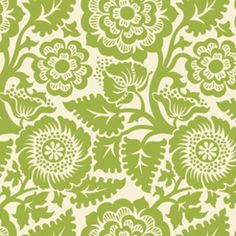 Joel Dewberry - Heirloom Home Dec - Blockprint Blossom in Green ....this fabric reminds me of the drapes in the Sound of Music that Maria did a total DIY outfit extravaganza with!! :-)