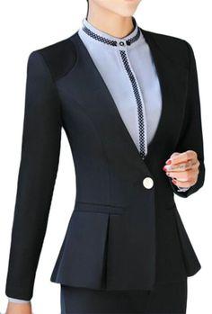 9926b269d3c4 Alion Womens Fashion Long Sleeve Peplum Hem Suit Blazers 3 S     Want  additional