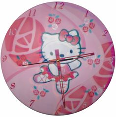 """Hello Kitty #1 """"Exclusive Model"""" - Wall Clock on LP Record / Vinyl... Painted with techniques of the Graffiti & Stencil."""