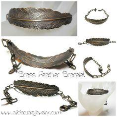 SOLD / Antiqued raw brass feather bracelet by www.aliciacoatsjewelry.com.  OOAK Selling Antiques, Wax, Feather, Brass, Pendants, Bracelets, Jewelry, Bangles, Jewellery Making